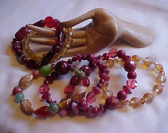 Sale~6 BEAD BRACELETS, GLASS Beads, some Vintage glass beads, a few Acrylic Beads, Colorful, in Style, Smart, Chic, 6 for price of 1, WoW!