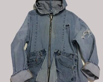 Handmade Raw Destroyed Weathered Denim Hoodie XL