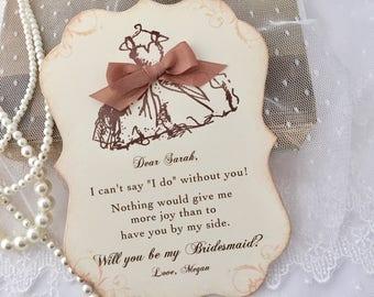 Will you be my Bridesmaid Card, Bridesmaid Invitation, Bridesmaid Card, Printed Invitation