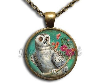 20% OFF - Owl Nature Perched Floral Glass Dome Pendant or with Chain Link Necklace AN212