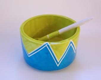 whimsical pottery Sugar Bowl w/ handmade ceramic spoon red & turquoise, condiment dish, Salt Dish chevron pattern