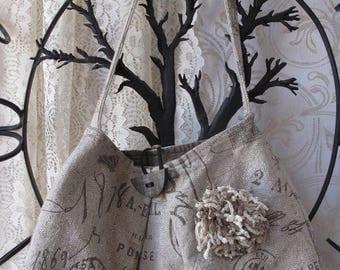 Paris Rustic Purse Shoulder Bag Handbag Vintage Hand Sewn Gray Tan Wooden Button