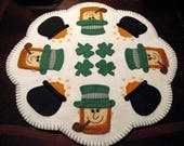St. Patrick's Day Leprechaun and his Pot of Gold Wool - Felt Candle Mat - Penny rug - Fiber Art - Wool Applique - Original Design - Wool