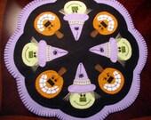"Hand Stitched Wool Felt 17"" Witches and Pumpkins Halloween Candle Mat - Penny Rug - Wool Applique - Wool - Primitive - Folk Art - Fiber Art"