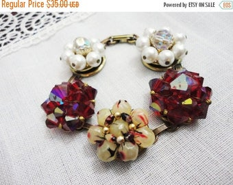 Memorial Day Sale Bracelet of Vintage Beaded Earrings - Fuchsia White Ivory with Fold Over Clasp - Gold Tone