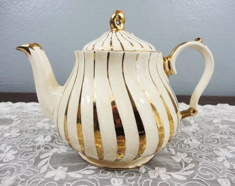 Vintage Sadler Swirled Teapot with Gold Stripes - England / English
