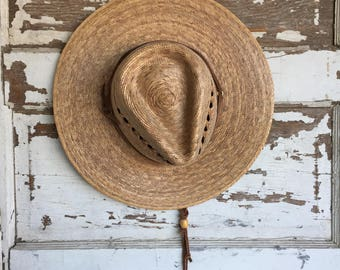 Vintage Straw Hat - Gardening Made in Mexico - Sunshade Palm Elastic Band - Small/Medium Unisex Womens