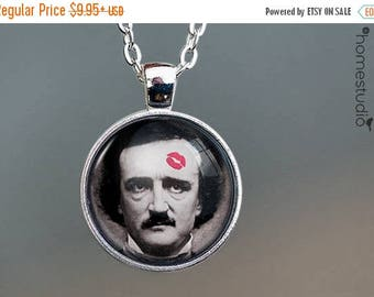 ON SALE - Poe : Glass Dome Necklace, Pendant or Keychain Key Ring. Gift Present metal round art photo jewelry by HomeStudio