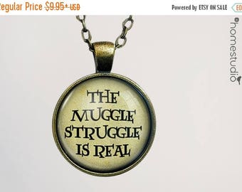 ON SALE - Muggle Struggle : Glass Dome Necklace, Pendant or Keychain Key Ring. Gift Present metal round art photo jewelry by HomeStudio