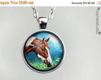 ON SALE - Horse (Moon) : Glass Dome Necklace, Pendant or Keychain Key Ring. Gift Present metal round art photo jewelry by HomeStudio