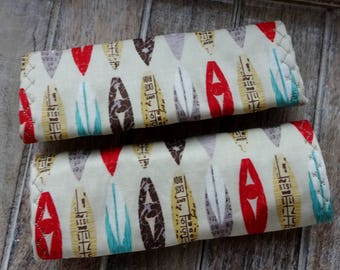 Luggage Handle Covers, Set of 2,Surfboardl Fabric, Travel Gift, Surfer's Gift, Stocking Stuffer, Luggage Identification Markers, Luggage ID