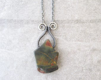 jasper necklace, rustic pendant necklace, metalwork jewelry, sterling silver green red stone necklace, oxidized silver, stone necklace