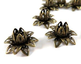 10 Brass Flower Bead Caps Filigree Riveted Layered Lotus Antique Bronze 16x8mm - 10 pc - F4212BC-AB10