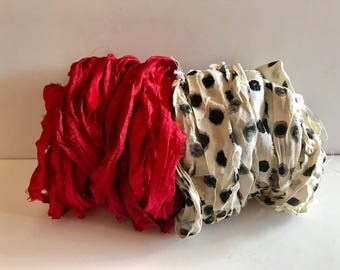 Silk Sari Ribbon-Red & Polka Dot Sari Ribbon-10 Yards