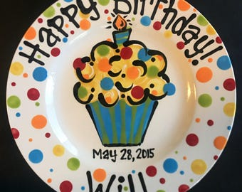 Hand Painted Birthday Plate - Colorful Cupcake