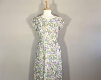 Floral Lace Dress, Lace Summer Dress, Metal Zipper Dress, 50's Lace Dress, Short Sleeve Dress