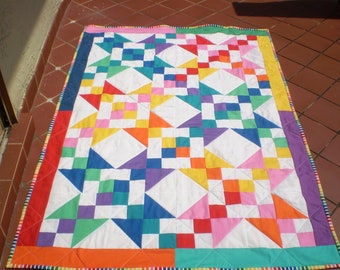 Handmade baby quilt, Baby boy bedding, baby girl quilt, Stars, Buckeye beauty, Lap quilt, bright primary colors,toddler,crib-Colorful Beauty