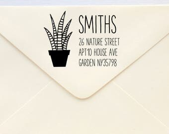 Custom Rubber Stamp - Custom Address Stamp - Return Address Stamp - Personalised Address Stamp - Gift - Potted Succulent 3