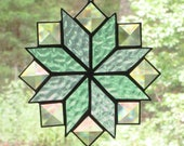 Stained Glass Suncatcher, Quilt Pattern - 8 Point Star in Pastel Blue & Green with Clear Bevels