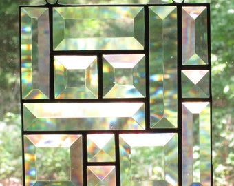 Stained Glass Suncatcher, Beveled Clear Glass Abstract