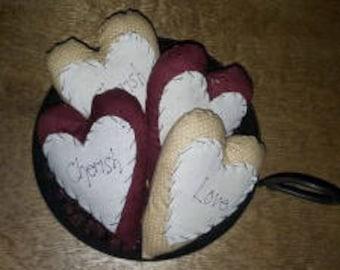Love/Cherish Heart Pillows/Bowl Fillers Set of 2