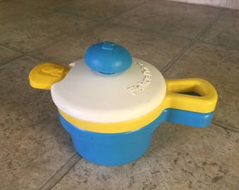 Vintage Fisher Price Activity Stackable Pots with Spoon
