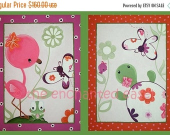 50% OFF Pond Animals, Nursery Art, Paintings, Girls Room, Flamingo, Turtle, Bedding, Girls Wall Art, Whimsical, Canvas, Frog, Butterfly, Bab