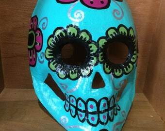 Day of the Dead handpainted paper mache skull mask