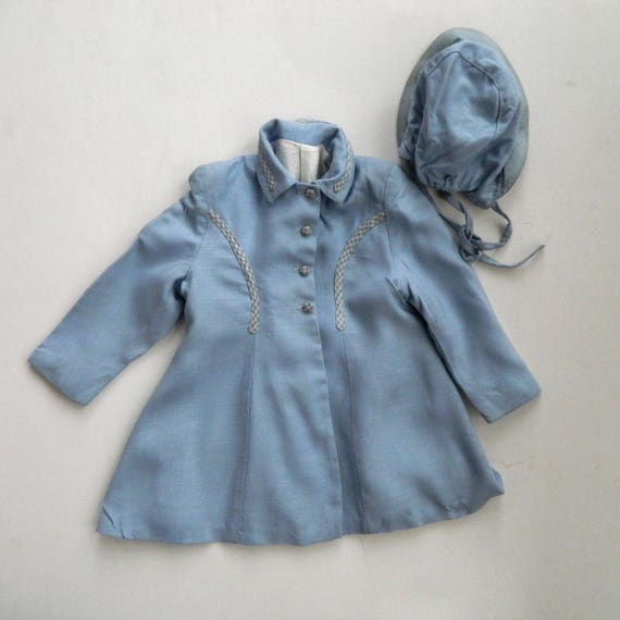 Vintage Jewel Togs Childs Coat and Hat in Light Blue