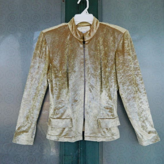 Vintage Fitted Disco Jacket by Janine Italy Gold Glam -S-