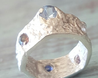Silver Stone Ring Sterling Abstract Cast Cubic Zirconia Band