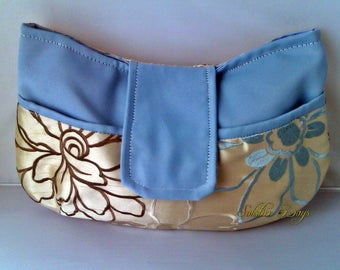 SALE - Ladies Clutch Bag made from Faux Silk Duck Egg Blue and Gold Floral Fabric, Wedding, Prom