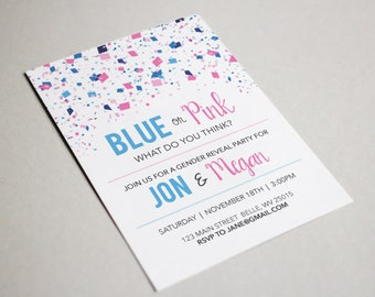 Blue or Pink - Gender Reveal Party Invite - Custom Download Printable Invitation - Boy Girl Baby Shower Party