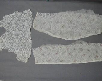Antique Dress Remnants, Edwardian Lace & Floral Chiffon, Vintage Scraps