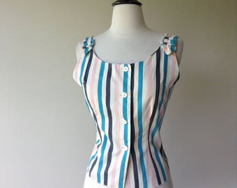 Vintage 1960s Blouse - Cute Striped 60s Cotton Top with Shoulder Buckles
