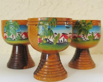 Vintage 1960s Hand Painted Jamaican West Indies Wood Footed Cups