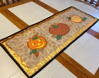 Quilted Fall Pumpkin Table Runner in Tan, Orange, Black and Green, 36 Inches Long, Cotton