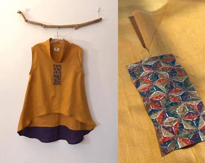 size M autumn gold linen top vest with geometry kimono silk  panel / one of the kind linen top / kimono fashion / handmade linen top / USA