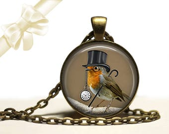 Dandy Bird steampunk brass Pendant Necklace Free Shipping Gifts for her
