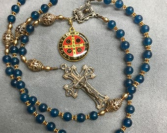 Rosary Caribbean Blue Jade Bali Beads Bronze St Benedict Medal Sacred Heart Immaculate heart HeartFelt Rosaries