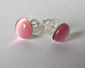 Pink Cat Eye Earrings, Fiber Optic Cabochon, Pink Cabochon, Pink Earrings, Button Earrings,  Silver Plated posts 8mm Item #1250