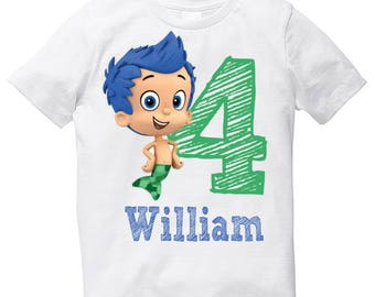 Bubble Guppies Gil birthday boy t shirt with name and digit number