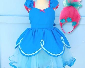 Poppy Troll dress, turquoise dress, Poppy Troll costume, Trolls birthday party, Poppy Troll tutu dress, Poppy troll Halloween costume