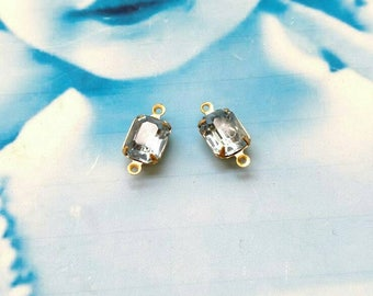 Vintage Light Blue Sapphire 10x8mm CZECH Crystal Stones in a Raw Brass Connector Prong Setting  432RAWCON x2