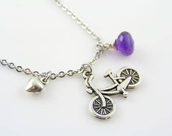Bicycle Charm Necklace, Amethyst Necklace, February Birthstone Necklace, Birthstone Jewelry, Bicycle Jewelry, Heart Necklace