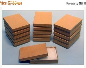 STOREWIDE SALE 10 Pack Cotton Filled Kraft Color Jewelry Gift and Retail Boxes 5.25 X 3.75 X 1 Inch Size