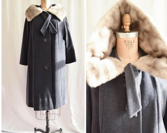 1950s Swing Coat | Rondella | Vintage 50's Charcoal Gray Wool Winter Coat Silver Fox Fur Collar Large Buttons Front Tie Hand Tailored Size M