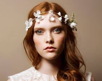 Silk blossom boho bridal hair vine -Impatience No. 2228
