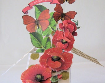 Elegant Box Card - Card in a Box - Birthday Pop Up Card - Red Poppies