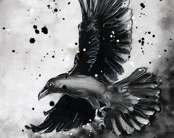 Raven painting on 8x12in canvas A4 - Raven flying in rainstorm